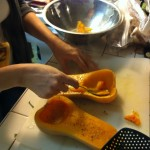 Scoop out squash into bowl, careful not to tear the skin