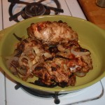 Place Chicken in Serving Dish and Cover with Onions from Pan