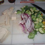 Cubed Tofu and Vegetables Ready for Wok