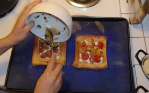 Adding Tomato Mixture to Tart