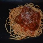 Basil and Garlic Meatballs with Marinara over Linguine