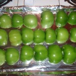 Tomatillos Cleaned and Halved; Ready for the Broiler