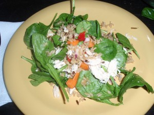 Spinach Salad with Chicken and Wild Rice