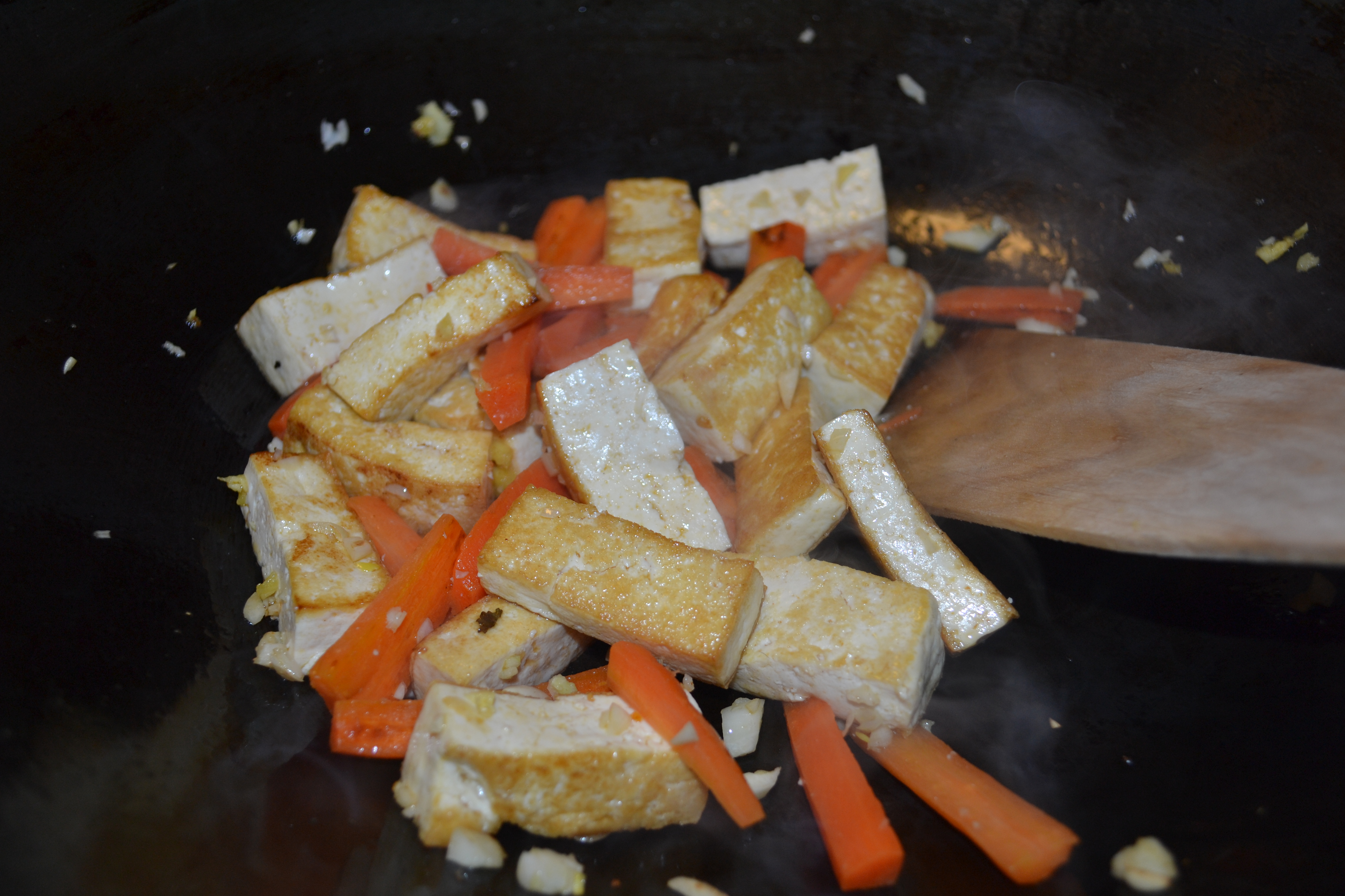 Add carrots, garlic and ginger